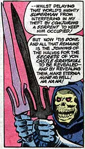 Even in Skeletor's hands, it looks like a plastic sword.