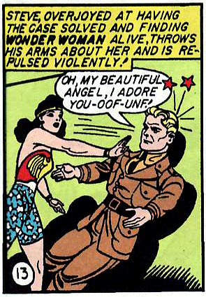 Next panel: The only way to get any attention from Wonder Woman is to let her knock you down!