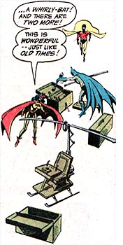 The Whirly-Bat and Batwoman: this was comics nostalgia in 1982. These days, nostalgia involves killing off Justice Leaguers and bringing dead heroes back as villains. Sigh.