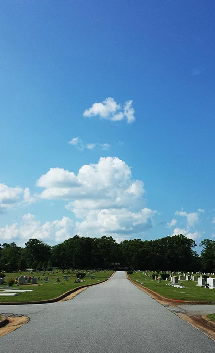 I'm not spiritual, I just like cemeteries and clouds