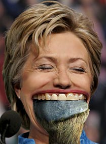 Mrs. Clinton, you must have a pretty big mouth to get the whole foot in there.