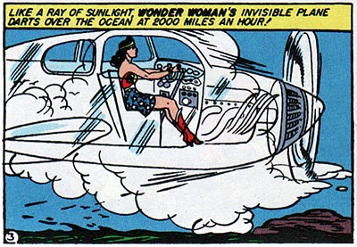 It's a chick! It's a plane! It's Wonder Woman seated as though she were in a plane.