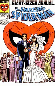 Peter Parker gets married as a deformed Spider-Man looks on.