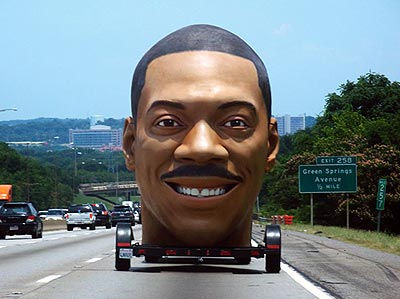 Eddie Murphy's severed head being dragged down the highway.