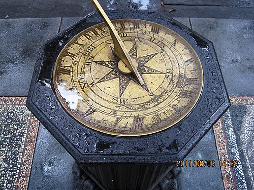 The sundial in Johnson Square is always hidden by the foliage. Best to bring a watch.