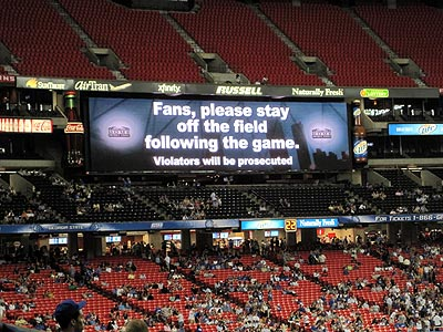 Seriously, don't come on the field. All 13 of you. Stop, or we'll call your mothers to come pick you up.