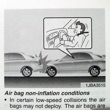 Airbags are not for use as pillows
