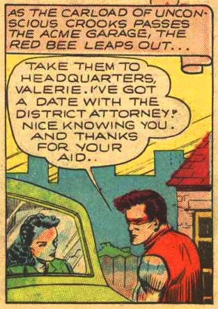 Taking a car full of crooks to the cops is woman's work!