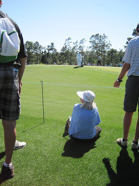 She got very excited when she spotted Tiger Woods' former caddy