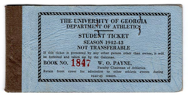The University of Georgia Department of Athletics Student Ticket Season 1942-43