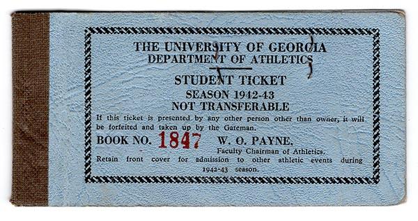 The University of Georgia Department of Athletics Student Ticket Season 1942-43