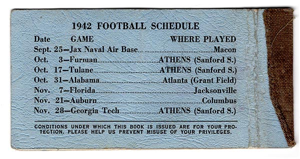 In 1942, UGA played only 3 home games in its home stadium